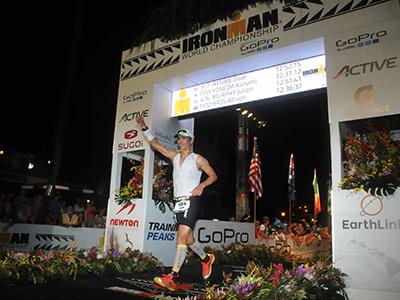Jeremy Peruski finishing triathlon